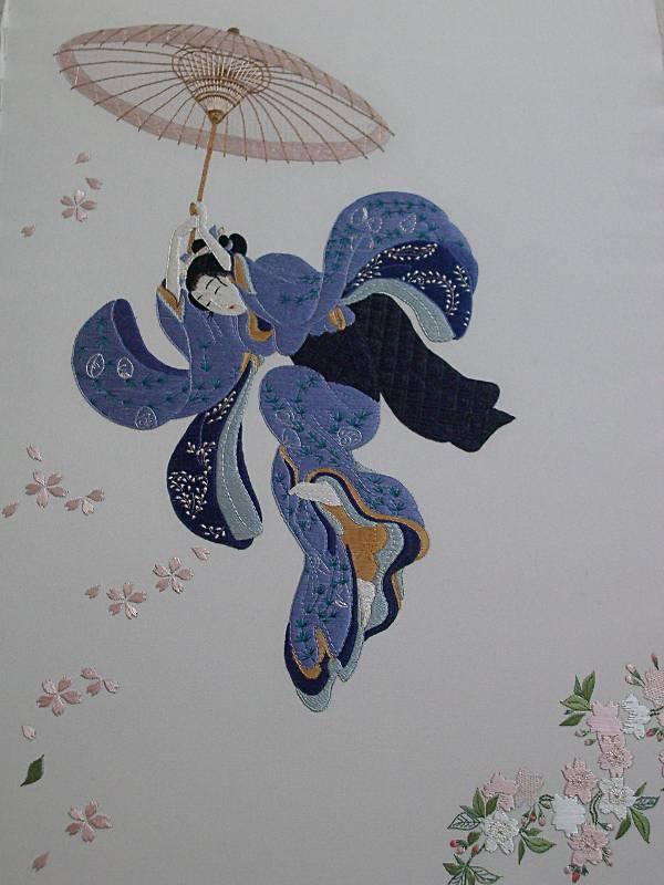"""Broderie japonaise """"Beauté sautant dans le vide"""""""