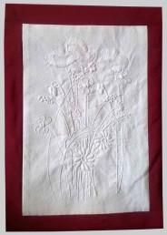 Tableau avec broderie de Mountmellick - Bouquet de fleurs champêtres