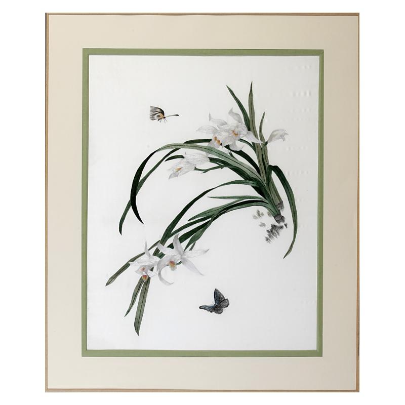 """Art déco à la soie - Tableau brodé """"Fragrance of spring"""""""