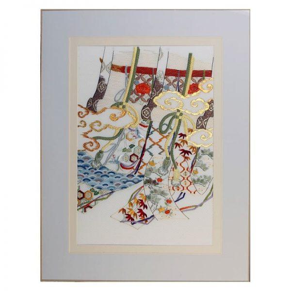 """L'art décoratif par la broderie japonaise - Tableau """"Antique bamboo blinds curtains"""""""