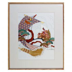 """L'art déco brodé soie - Tableau """"Treasure ship"""""""