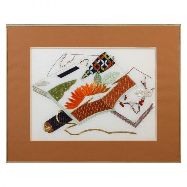 """Tableau art décoratif sur soie """"Venerable friends with chysanthemum"""""""