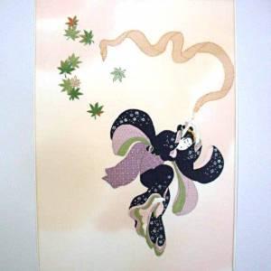 Tableau brodé à la soie Beauté au ruban