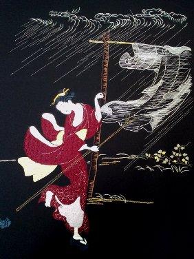 Sous la pluie, modèle original de broderie japonaise