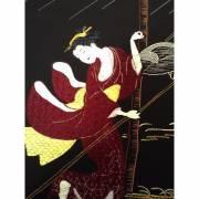 Décoration murale brodée à la soie - L'averse