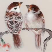 Tableau brodé Spring Day, Couple d'oiseaux sur une branche fleurie