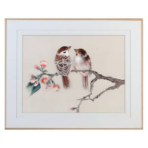 Tableau Spring Day : couple d'oiseaux en broderie chinoise